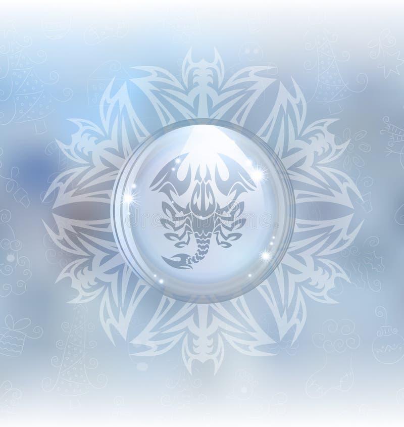 Globo de la nieve del vector con el escorpión de la muestra del zodiaco libre illustration