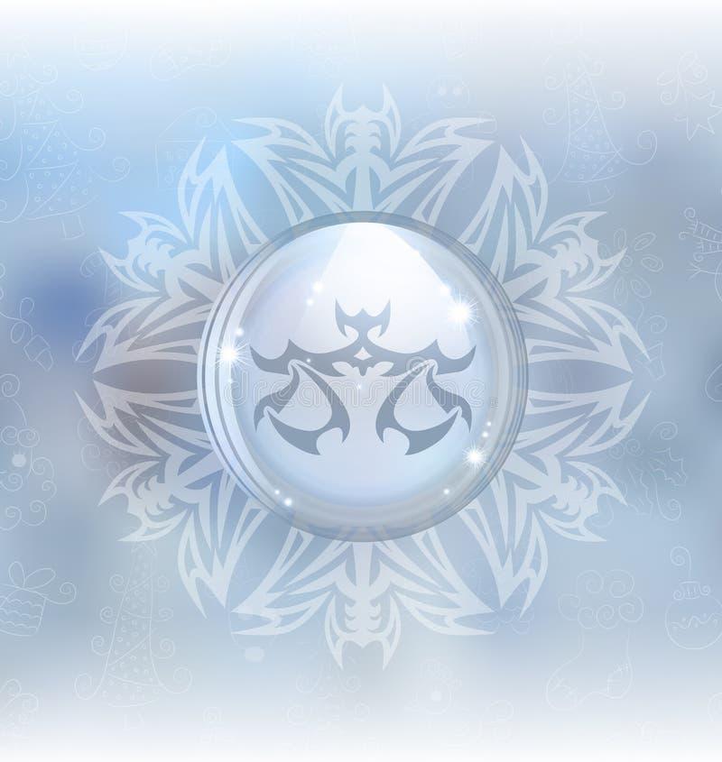 Globo de la nieve del vector con el libra de la muestra del zodiaco ilustración del vector