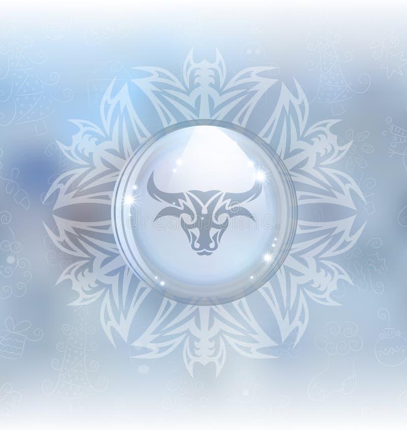 Globo de la nieve del vector con el tauro de la muestra del zodiaco ilustración del vector