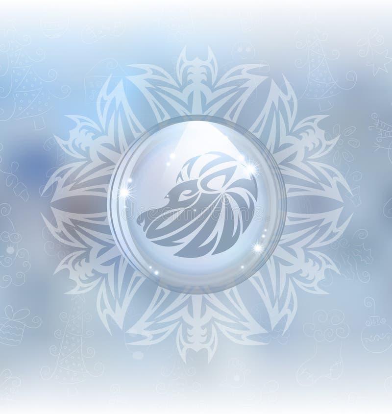 Globo de la nieve del vector con la muestra Leo del zodiaco stock de ilustración