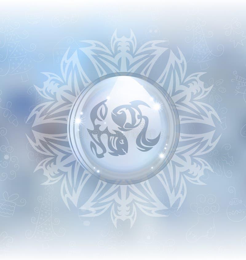 Globo de la nieve del vector con la muestra Piscis del zodiaco libre illustration