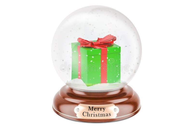 Globo de la nieve de la Navidad con la caja de regalo dentro, representación 3D libre illustration