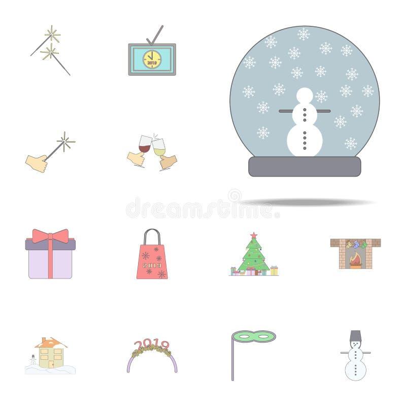 Globo de la nieve para el icono coloreado la Navidad Sistema universal de los iconos del día de fiesta de la Navidad para la web  ilustración del vector