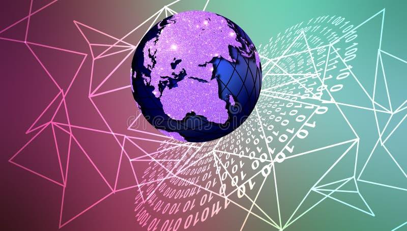 Globo de la tecnología de red del mundo Comunicaci?n de la tecnolog?a libre illustration