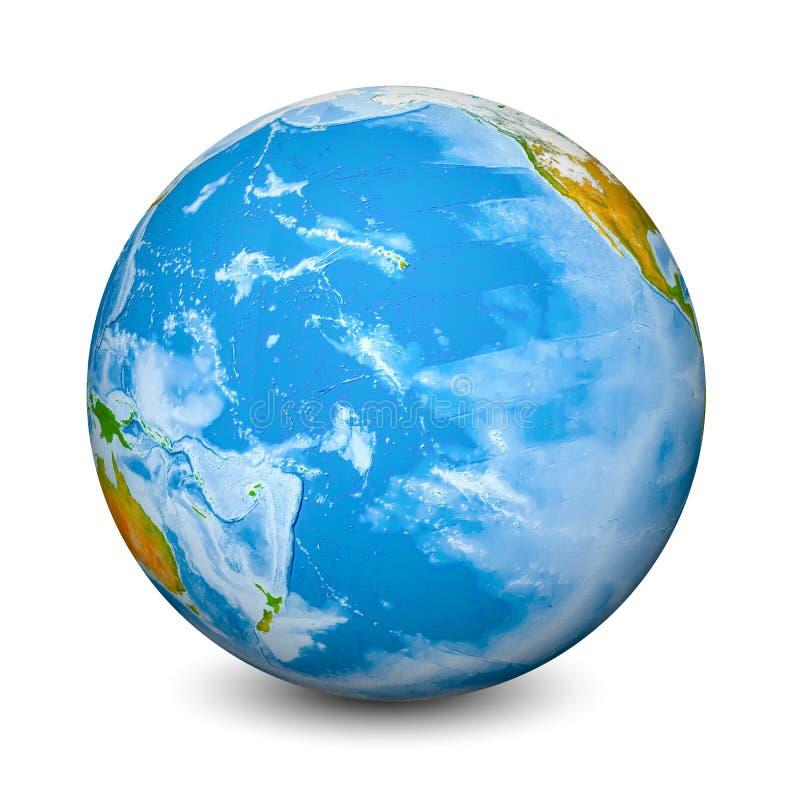 Globo de la tierra centrado en el Océano Pacífico Tierras y océanos topográficos realistas con batimetría el objeto 3D aisló ence fotografía de archivo libre de regalías