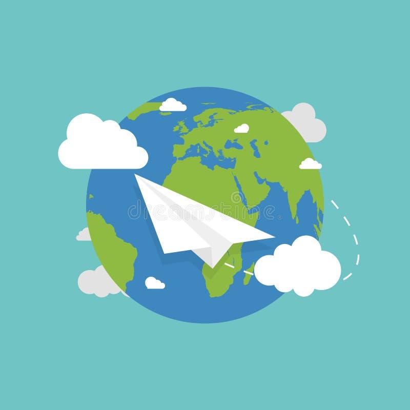 Globo de la tierra con el avión Tierra en estilo plano Vuelo plano Tierra Vector stock de ilustración