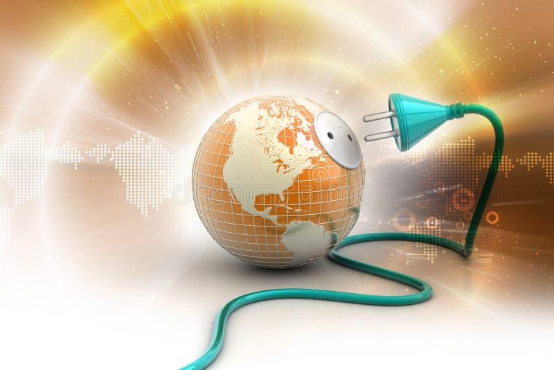 Globo de la tierra con el cable de transmisión stock de ilustración