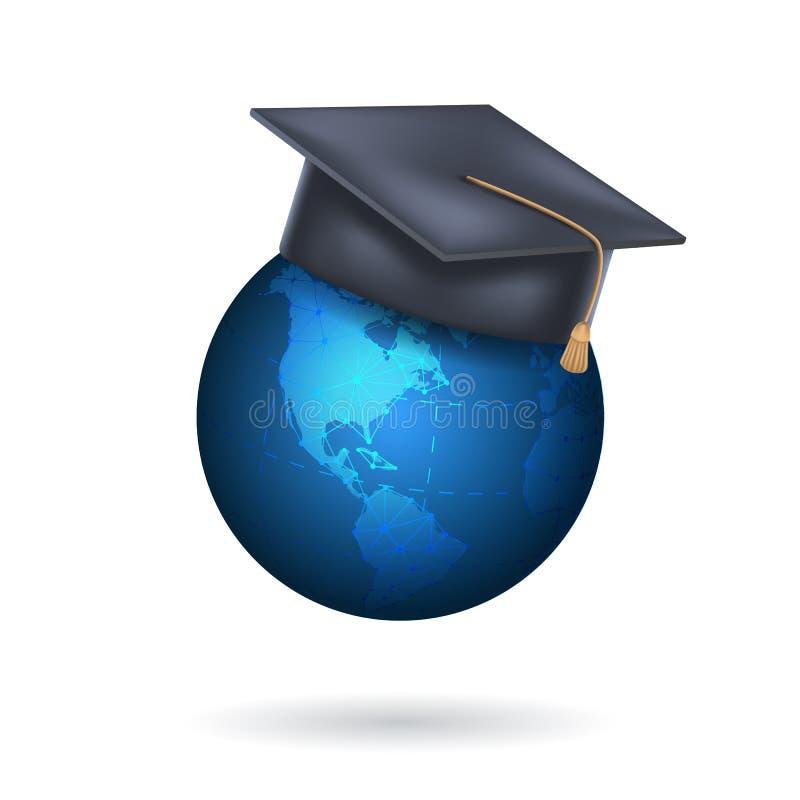 Globo de la tierra con el casquillo de la graduación Concepto de educación global, programa internacional del intercambio del est ilustración del vector