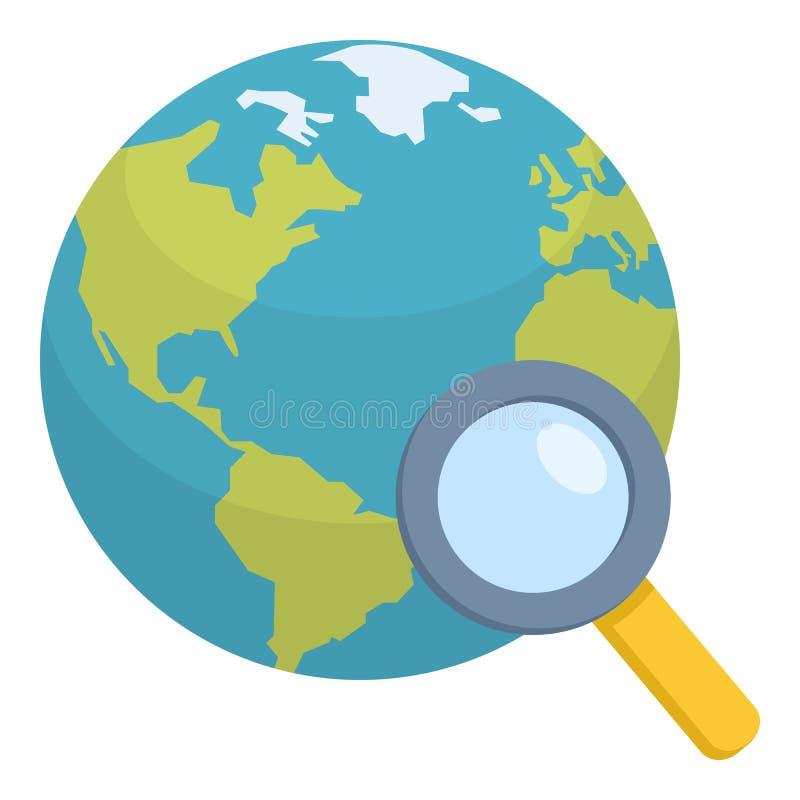 Globo de la tierra con el icono plano de la lupa ilustración del vector