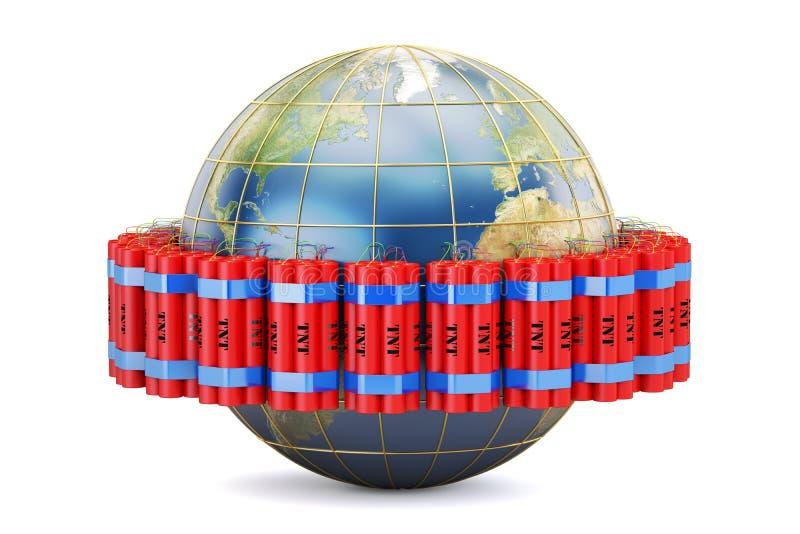 Globo de la tierra con la dinamita, representación 3D libre illustration