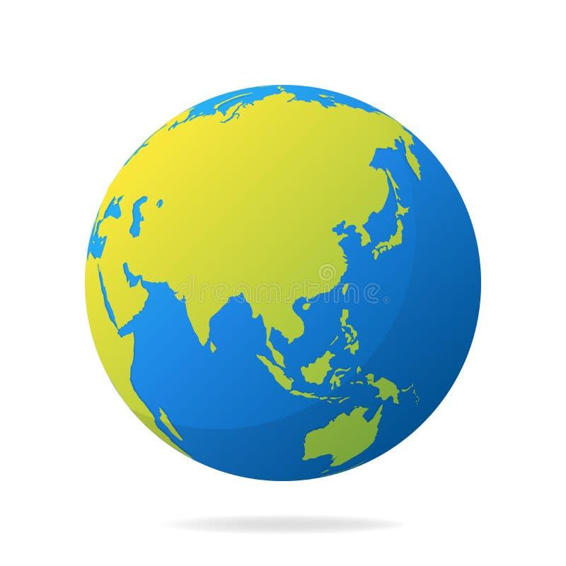 Globo de la tierra con los continentes verdes Concepto moderno del mapa del mundo 3d Ejemplo azul realista del vector de la bola  ilustración del vector