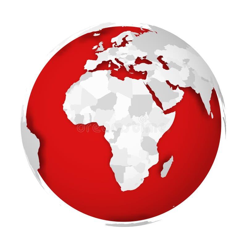 globo de la tierra 3D con la sombra de caída del mapa político en blanco en los Mares Rojos y los océanos Ilustración del vector stock de ilustración