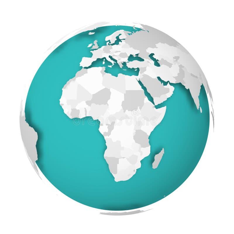 globo de la tierra 3D con la sombra de caída del mapa político en blanco en los mares verdes azules y los océanos Ilustración del libre illustration