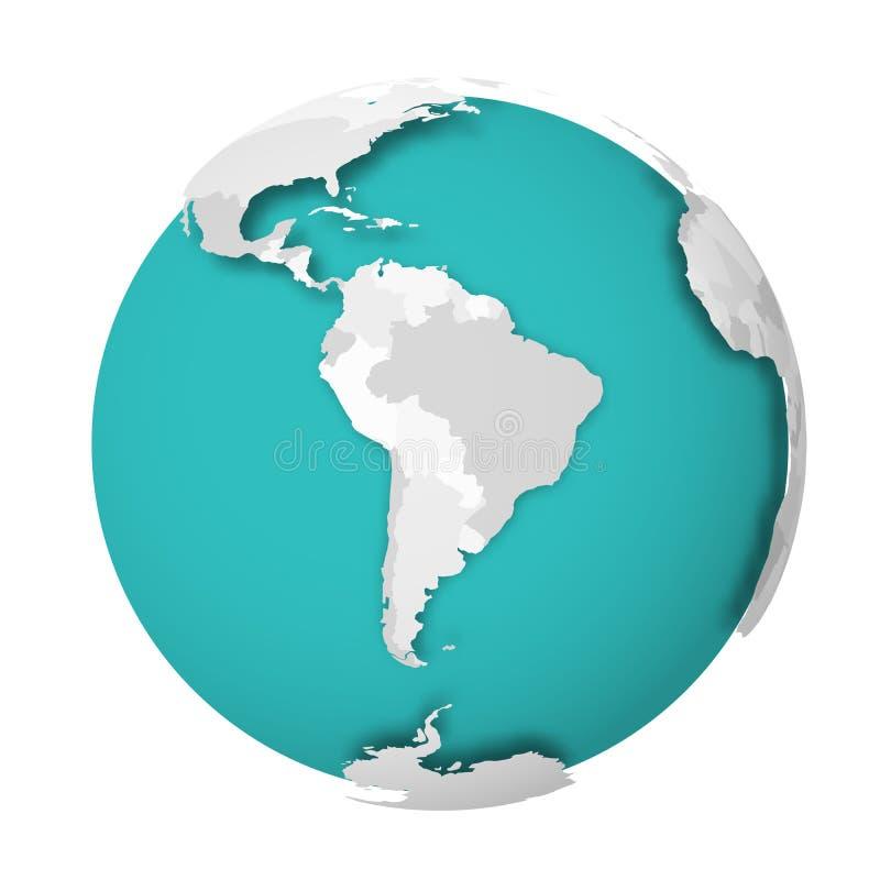 globo de la tierra 3D con la sombra de caída del mapa político en blanco en los mares verdes azules y los océanos Ilustración del ilustración del vector