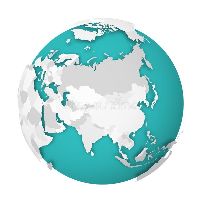 globo de la tierra 3D con la sombra de caída del mapa político en blanco en los mares verdes azules y los océanos Ilustración del stock de ilustración