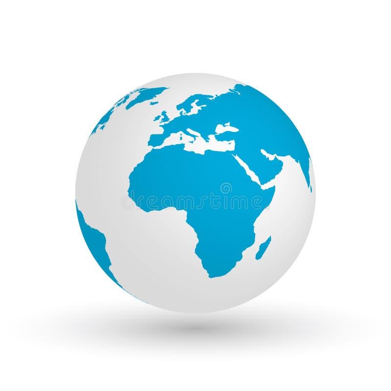 globo de la tierra 3d Vector el ejemplo EPS10 del planeta con la silueta azul de los continentes Centrado en África libre illustration