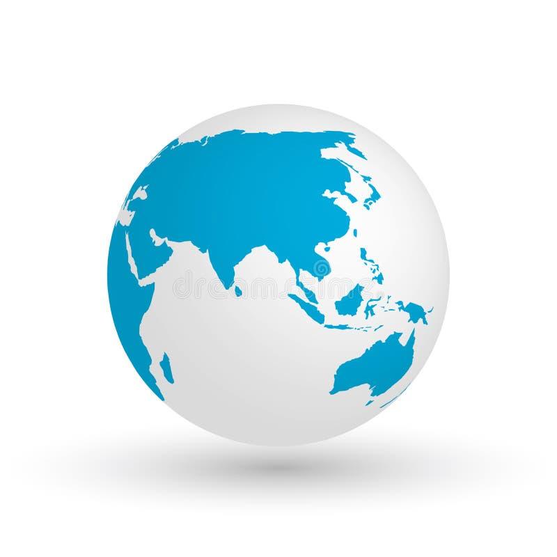 globo de la tierra 3d Vector el ejemplo EPS10 del planeta con la silueta azul de los continentes Centrado en Asia stock de ilustración