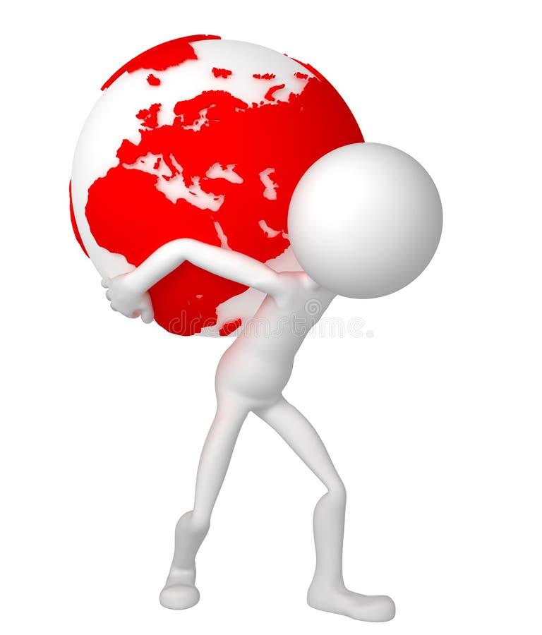 globo de la tierra de la explotación agrícola del hombre 3d en sus hombros stock de ilustración