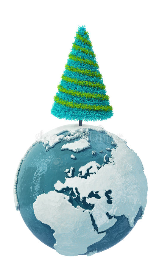 Globo de la tierra del invierno con la Navidad Tree-2 stock de ilustración