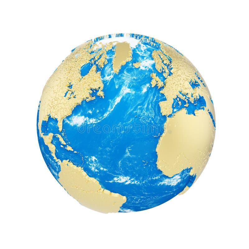 Globo de la tierra del planeta aislado en el fondo blanco Continentes metálicos del oro y océano azul Celebración del Día de la T stock de ilustración