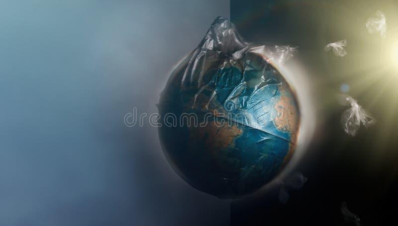 Globo de la tierra del planeta vestido en una bolsa de pl?stico de la basura Vuele alrededor de los pedazos de pl?stico quebrado  libre illustration