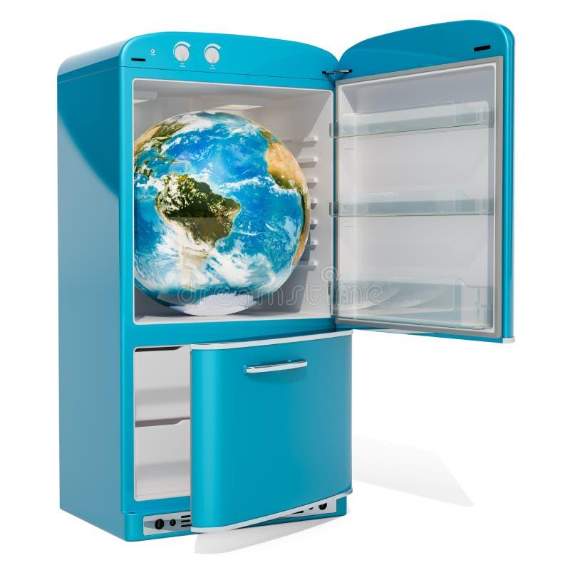 Globo de la tierra dentro del refrigerador, representación 3D libre illustration