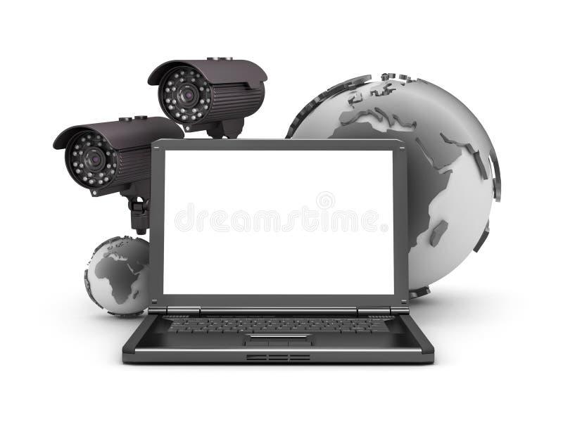 Globo de las cámaras de seguridad, del ordenador portátil y de la tierra stock de ilustración