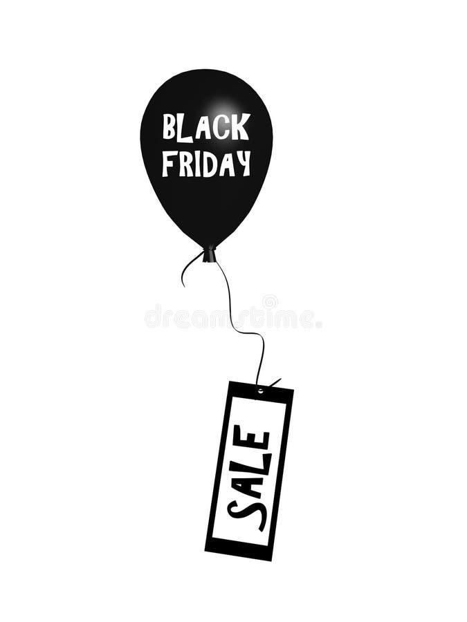 Globo de levantamiento con el texto viernes negro stock de ilustración