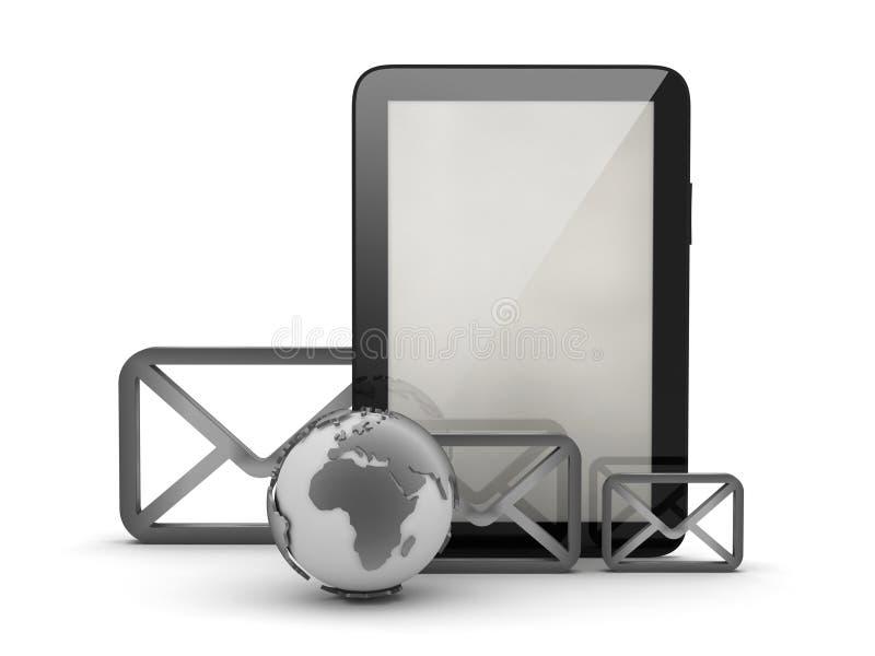 Globo de los sobres, de la tableta y de la tierra stock de ilustración