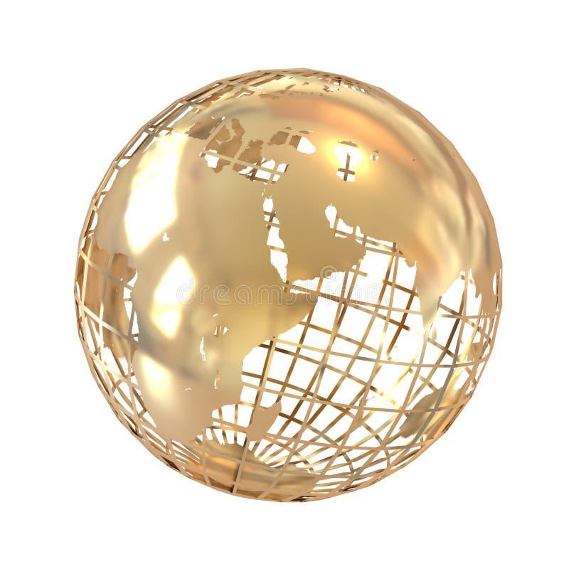 Globo de oro aislado en blanco ilustración del vector