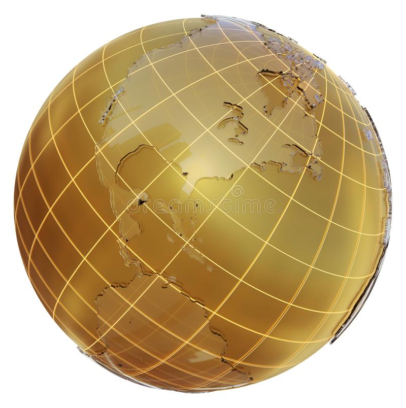Globo de oro con los continentes de cristal stock de ilustración