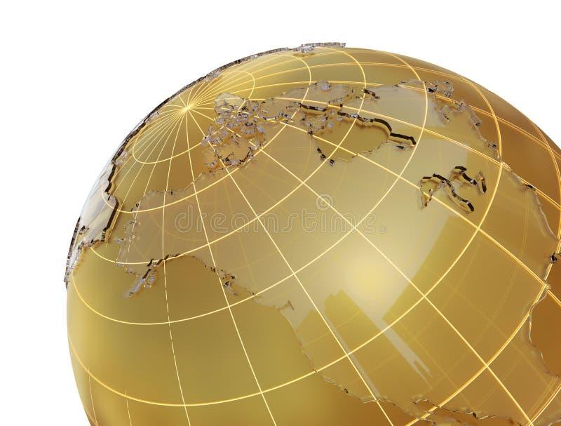Globo de oro con los continentes de cristal libre illustration