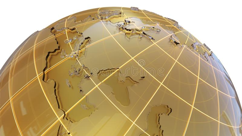 Globo de oro con los continentes de cristal ilustración del vector
