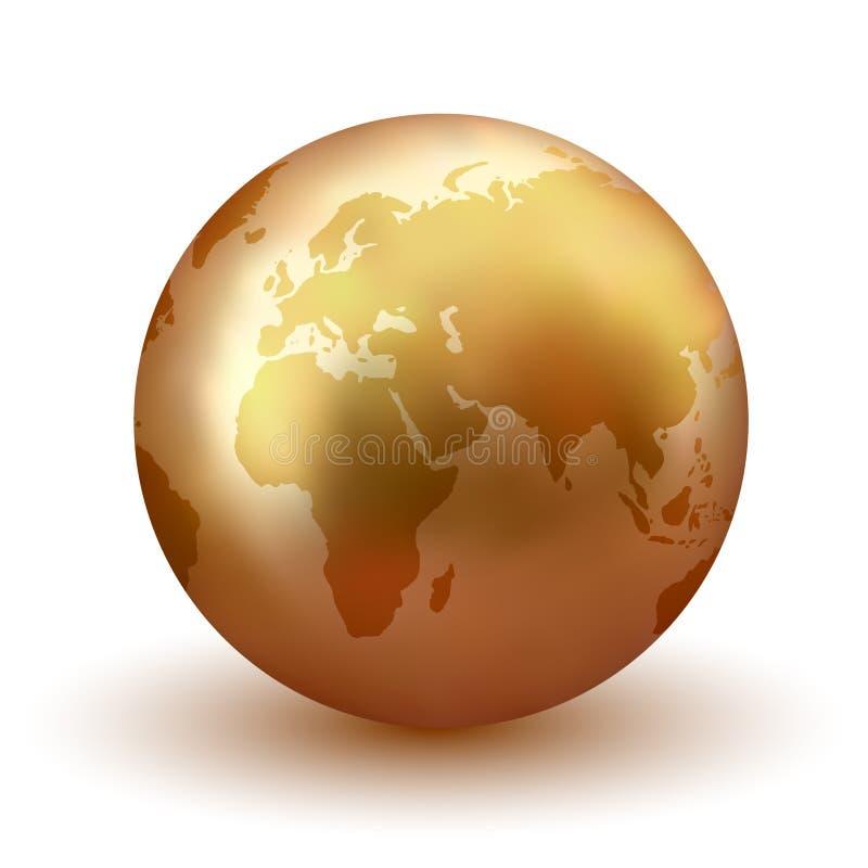 Globo de oro de la tierra stock de ilustración