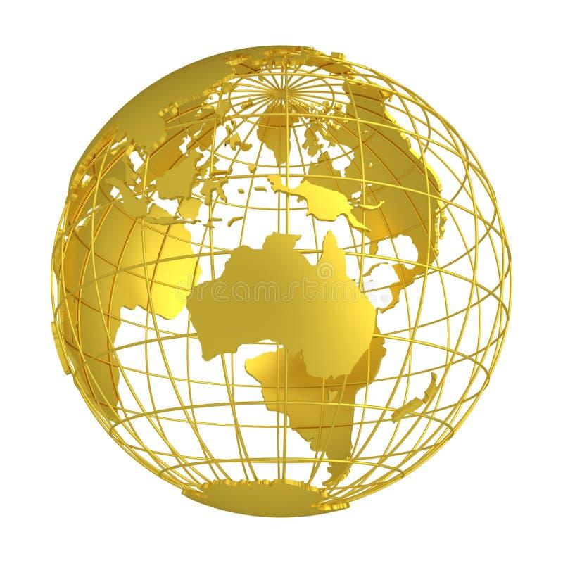 Globo de oro del planeta 3D de la tierra stock de ilustración