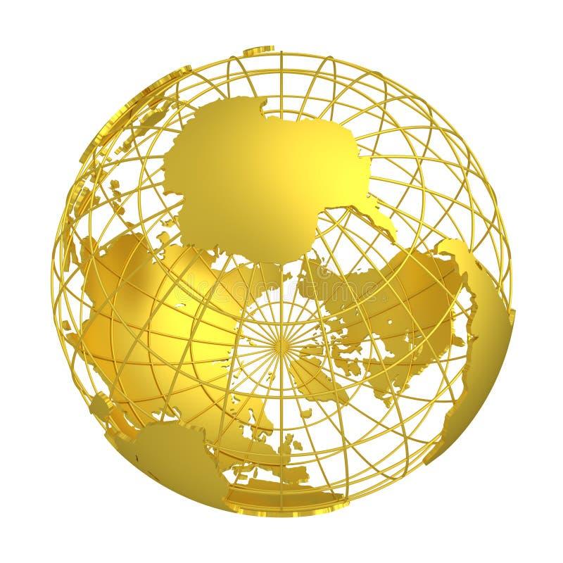Globo de oro del planeta 3D de la tierra ilustración del vector
