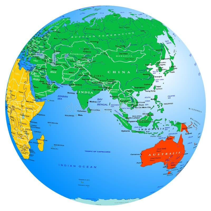 Globo dei continenti e dei paesi della mappa di mondo Terra del pianeta orientale illustrazione vettoriale