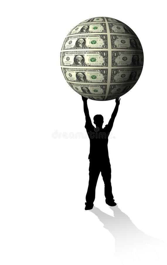 Globo dei soldi della holding illustrazione di stock