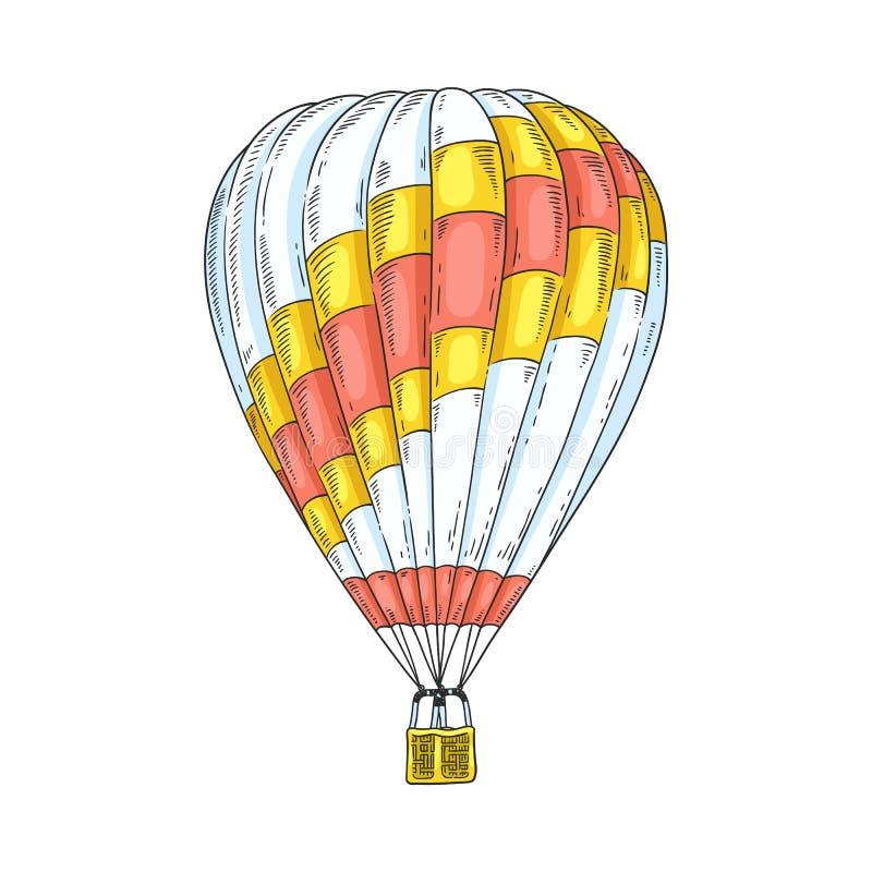 Globo del aerostato y del aire caliente para el viaje retro stock de ilustración