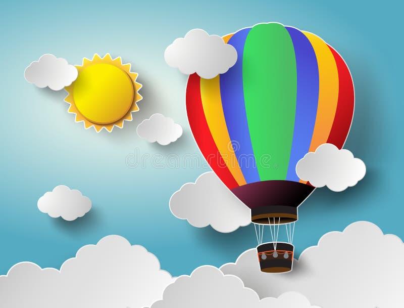 Globo del aire caliente alto en el cielo con luz del sol Vector Illustratio ilustración del vector