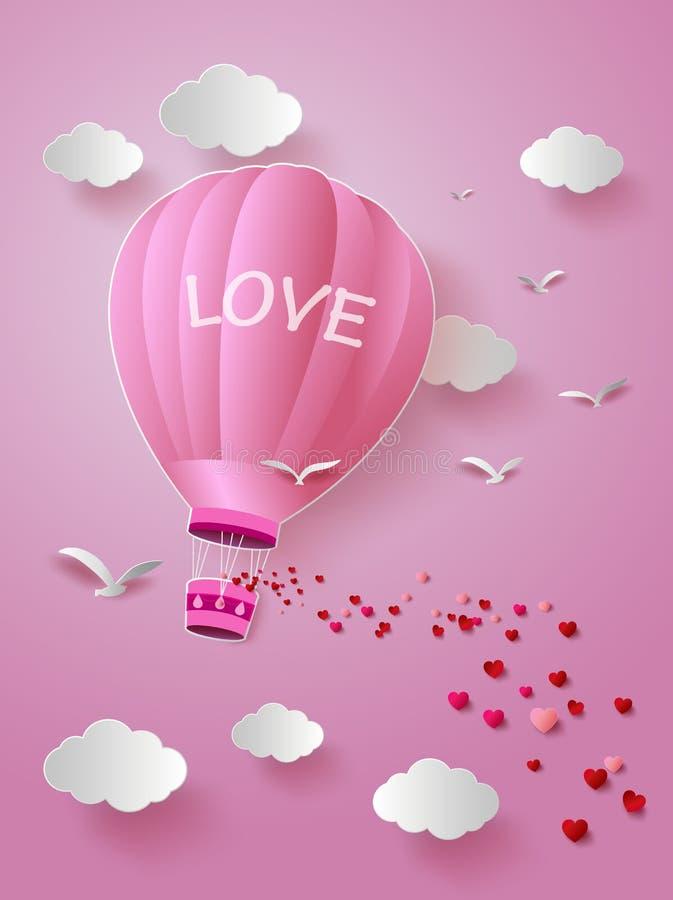 Globo del aire caliente con amor stock de ilustración