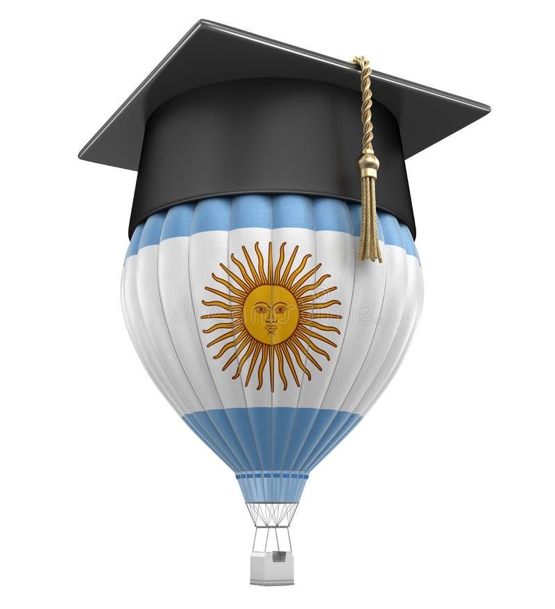 Globo del aire caliente con el casquillo argentino de la bandera y de la graduación libre illustration