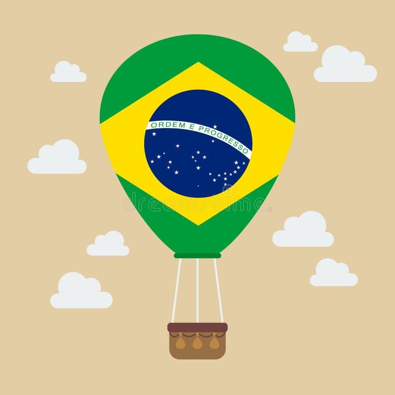 Globo del aire caliente con la bandera del Brasil ilustración del vector