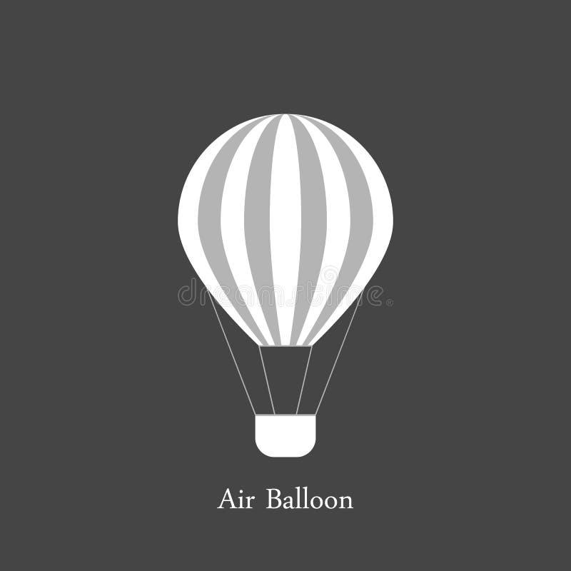 Globo del aire caliente con las rayas grises y blancas Viaje del verano por transporte aéreo Aislado en gris stock de ilustración