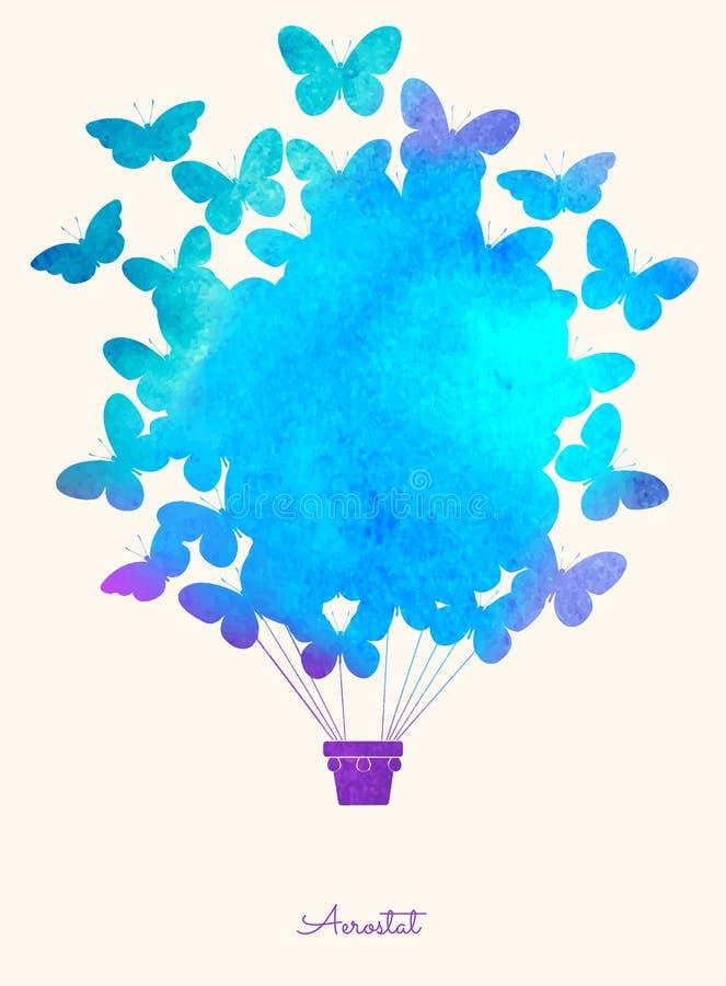 Globo del aire caliente de la mariposa del vintage de la acuarela Fondo festivo de la celebración con los globos Perfeccione para libre illustration