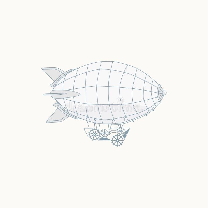 Globo del aire caliente de Steampunk stock de ilustración