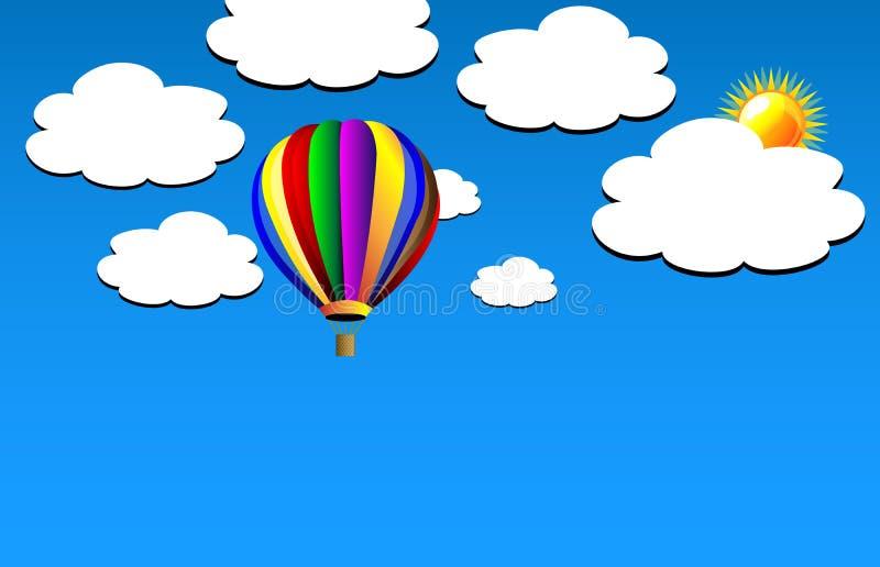 Globo del aire caliente del vector en el cielo libre illustration