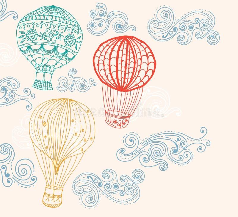 Globo del aire caliente en fondo del cielo ilustración del vector