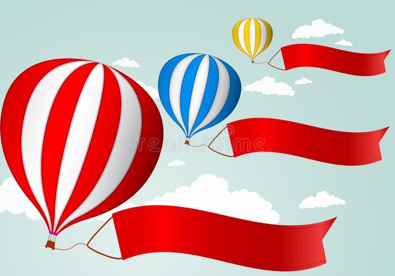 Globo del aire caliente en la bandera roja del cielo .with para su publicidad stock de ilustración