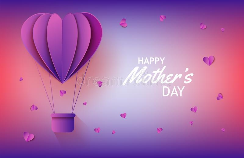 Globo del aire caliente en la forma de corazón en el arte de papel en el fondo de la pendiente para la bandera del día de madres stock de ilustración